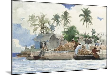 Sponge Fisherman, Bahamas-Winslow Homer-Mounted Giclee Print