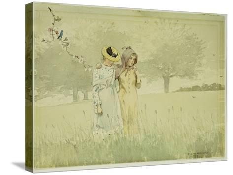 Girls Strolling in an Orchard, 1879-Winslow Homer-Stretched Canvas Print