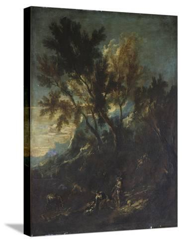 A Mountain Landscape with Pastoral Figures-Alessandro Magnasco-Stretched Canvas Print
