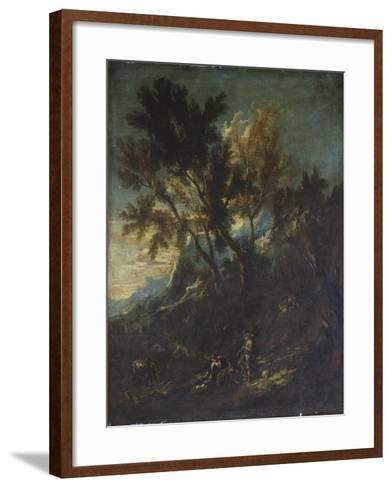 A Mountain Landscape with Pastoral Figures-Alessandro Magnasco-Framed Art Print