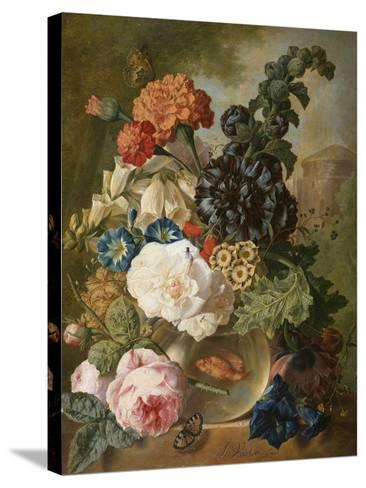 Roses, Chrysanthemums, Peonies and Other Flowers in a Glass Vase with Goldfish on a Stone Ledge-Jan van Os-Stretched Canvas Print