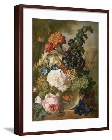 Roses, Chrysanthemums, Peonies and Other Flowers in a Glass Vase with Goldfish on a Stone Ledge-Jan van Os-Framed Art Print