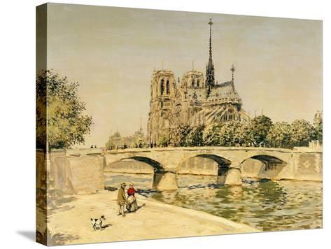 Notre Dame and the Seine-Jean Francois Raffaelli-Stretched Canvas Print