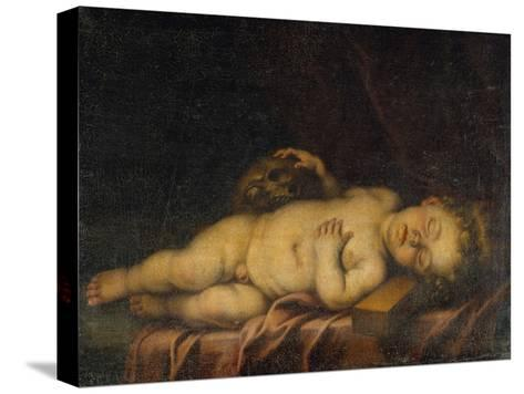 Christ Child Asleep on the Cross-Bartolome Esteban Murillo-Stretched Canvas Print