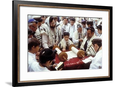 A Boy Reading the Torah During His Bar Mitzvah--Framed Art Print