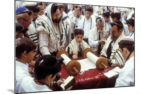 A Boy Reading the Torah During His Bar Mitzvah--Mounted Photographic Print