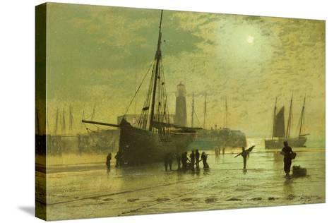 The Lighthouse at Scarborough, 1877-John Atkinson Grimshaw-Stretched Canvas Print