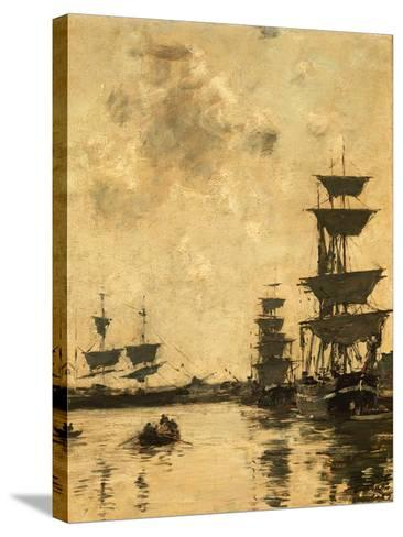 Deauville: Schooners at Anchor, 1887-Eug?ne Boudin-Stretched Canvas Print