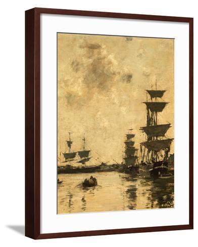 Deauville: Schooners at Anchor, 1887-Eug?ne Boudin-Framed Art Print