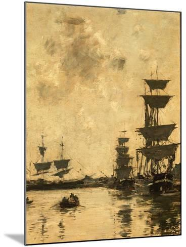 Deauville: Schooners at Anchor, 1887-Eug?ne Boudin-Mounted Giclee Print