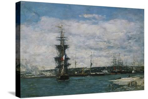 The Port of Havre, C.1864-66-Eug?ne Boudin-Stretched Canvas Print