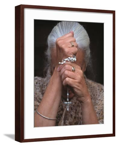 Catholic Woman Prays Holding Her Rosary--Framed Art Print