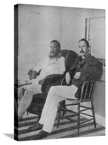 Robert Louis Stevenson with King Kalakaua of Hawaii on the Verandah of the Royal Boat House at…--Stretched Canvas Print