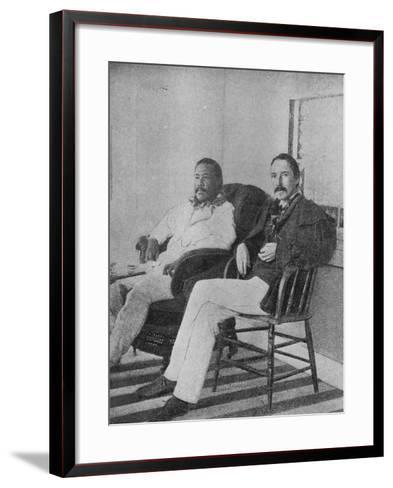 Robert Louis Stevenson with King Kalakaua of Hawaii on the Verandah of the Royal Boat House at…--Framed Art Print