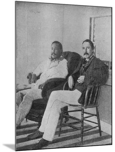 Robert Louis Stevenson with King Kalakaua of Hawaii on the Verandah of the Royal Boat House at…--Mounted Photographic Print