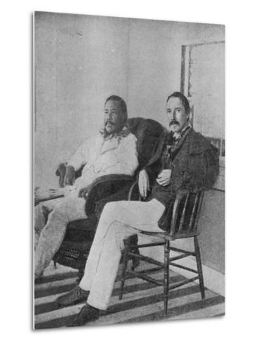 Robert Louis Stevenson with King Kalakaua of Hawaii on the Verandah of the Royal Boat House at…--Metal Print