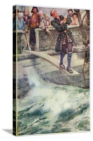 Walking the Plank', Illustration from 'The Master of Ballantrae' by Robert Louis Stevenson-Walter Stanley Paget-Stretched Canvas Print