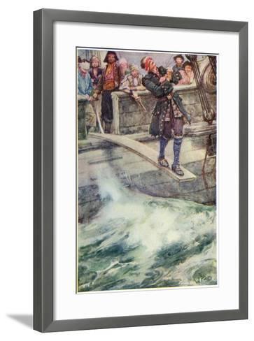Walking the Plank', Illustration from 'The Master of Ballantrae' by Robert Louis Stevenson-Walter Stanley Paget-Framed Art Print