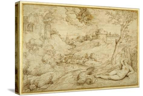 Landscape with Roger and Angelica, from 'Orlando Furioso', X, after Titian-Domenico Campagnola-Stretched Canvas Print