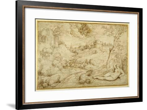 Landscape with Roger and Angelica, from 'Orlando Furioso', X, after Titian-Domenico Campagnola-Framed Art Print