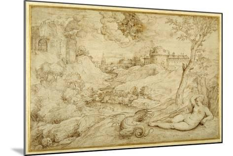 Landscape with Roger and Angelica, from 'Orlando Furioso', X, after Titian-Domenico Campagnola-Mounted Giclee Print