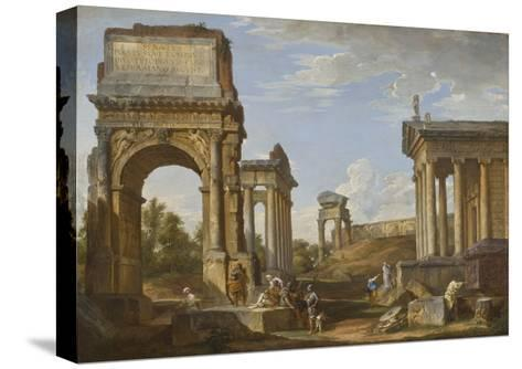 Roman Ruins with the Arch of Titus, 1734-Giovanni Paolo Panini-Stretched Canvas Print