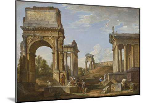 Roman Ruins with the Arch of Titus, 1734-Giovanni Paolo Panini-Mounted Giclee Print