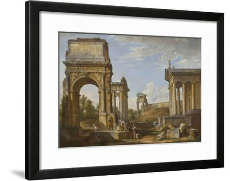 Roman Ruins with the Arch of Titus, 1734-Giovanni Paolo Panini-Framed Art Print