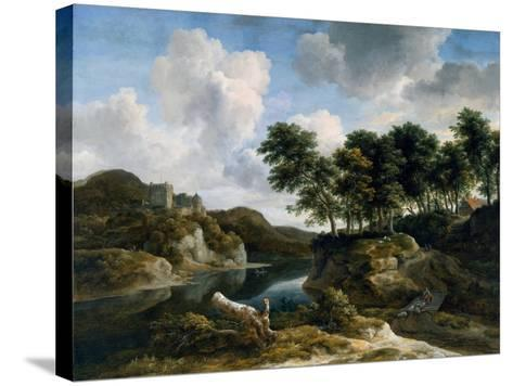 River Landscape with a Castle on a High Cliff, 1670s-Jacob Isaaksz^ Or Isaacksz^ Van Ruisdael-Stretched Canvas Print