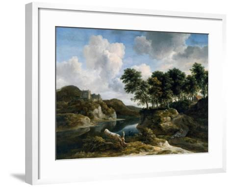 River Landscape with a Castle on a High Cliff, 1670s-Jacob Isaaksz^ Or Isaacksz^ Van Ruisdael-Framed Art Print