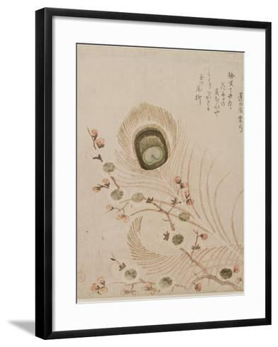 Plum Branch and Peacock Feathers, Mid to Late 1810s-Kubo Shumman-Framed Art Print