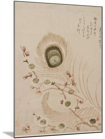 Plum Branch and Peacock Feathers, Mid to Late 1810s-Kubo Shumman-Mounted Giclee Print