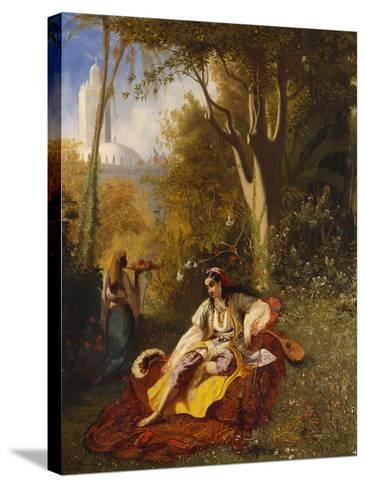 An Algerian Woman and Her Servant in a Garden, 1844-Charles Theodore Frere-Stretched Canvas Print