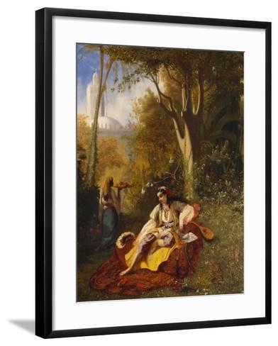 An Algerian Woman and Her Servant in a Garden, 1844-Charles Theodore Frere-Framed Art Print