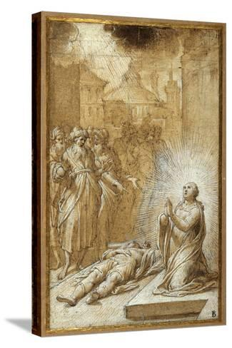 Female Saint Praying by the Body of a Dead Man-Camillo Procaccini-Stretched Canvas Print