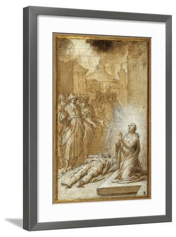 Female Saint Praying by the Body of a Dead Man-Camillo Procaccini-Framed Art Print