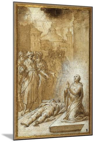 Female Saint Praying by the Body of a Dead Man-Camillo Procaccini-Mounted Giclee Print