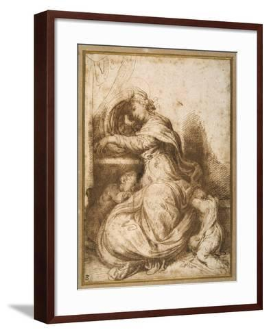 Madonna and Child with St John, All Asleep-Agostino Carracci-Framed Art Print
