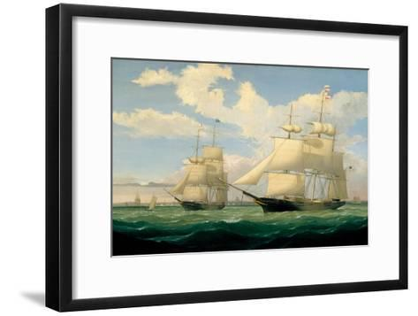 The Ships 'Winged Arrow' and 'Southern Cross' in Boston Harbour, 1853-Fitz Henry Lane-Framed Art Print