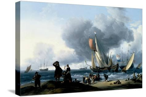 Dutchmen Embarking onto a Yacht, C.1670-Ludolf Backhuysen-Stretched Canvas Print