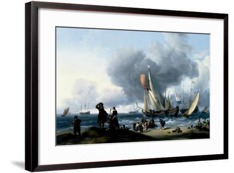 Dutchmen Embarking onto a Yacht, C.1670-Ludolf Backhuysen-Framed Art Print