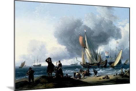 Dutchmen Embarking onto a Yacht, C.1670-Ludolf Backhuysen-Mounted Giclee Print