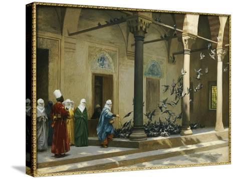 Harem Women Feeding Pigeons in a Courtyard-Jean Leon Gerome-Stretched Canvas Print