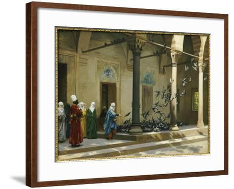 Harem Women Feeding Pigeons in a Courtyard-Jean Leon Gerome-Framed Art Print