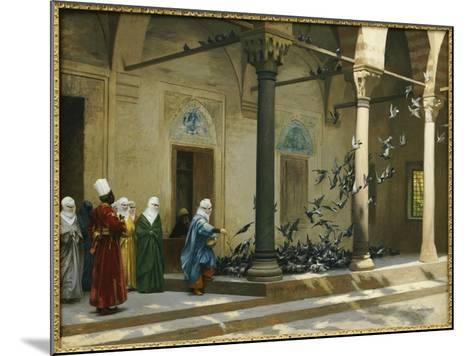 Harem Women Feeding Pigeons in a Courtyard-Jean Leon Gerome-Mounted Giclee Print