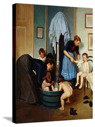 Bath in a Working Household (Children in the Tub), C.1900--Stretched Canvas Print