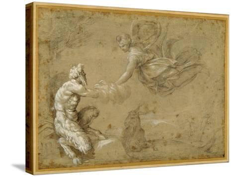 Pan Presenting the Wool to Diana-Annibale Carracci-Stretched Canvas Print