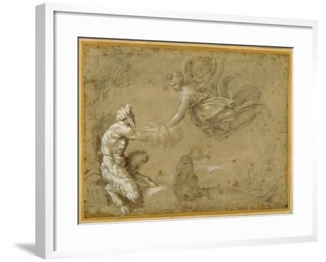 Pan Presenting the Wool to Diana-Annibale Carracci-Framed Art Print