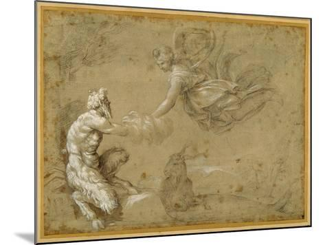Pan Presenting the Wool to Diana-Annibale Carracci-Mounted Giclee Print