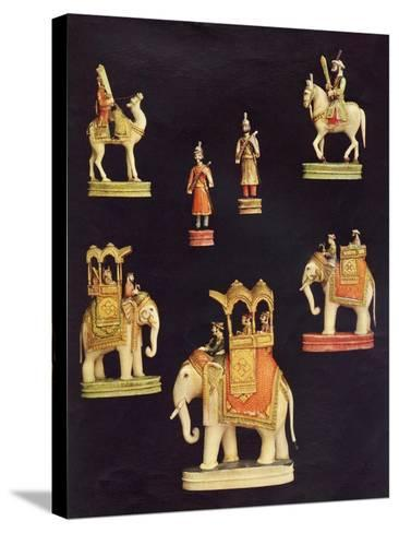 Pieces from an Ivory Chess Set Made in Delhi for Begum Samru in C.1790--Stretched Canvas Print
